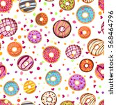 colorful donuts with sprinkles...   Shutterstock .eps vector #568464796