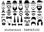 retro party set. glasses  hats  ... | Shutterstock .eps vector #568465132