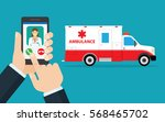 call ambulance car via mobile... | Shutterstock .eps vector #568465702