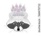 cute raccoon with war bonnet on ... | Shutterstock .eps vector #568470712