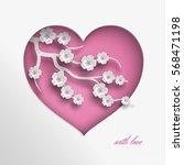pink heart vector illustration... | Shutterstock .eps vector #568471198