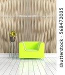 modern bright interior . 3d... | Shutterstock . vector #568472035