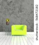 modern bright interior . 3d... | Shutterstock . vector #568472182