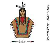 proud american indian. black... | Shutterstock .eps vector #568473502
