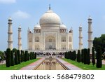 the taj mahal is a white marble ... | Shutterstock . vector #568479802