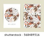 cover design with floral... | Shutterstock .eps vector #568489516