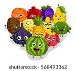 cute fruit cartoon characters...   Shutterstock .eps vector #568493362