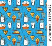 dairy product seamless pattern... | Shutterstock .eps vector #568493632