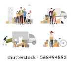 people moving into a new house... | Shutterstock .eps vector #568494892