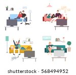 set of a couple watches tv.... | Shutterstock .eps vector #568494952
