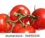 Ripe tomatoes on a white background - stock photo