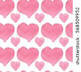 watercolor hearts seamless... | Shutterstock . vector #568509952