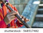 a quechuan man in cusco  peru ... | Shutterstock . vector #568517482