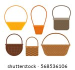 empty baskets isolated on white ... | Shutterstock .eps vector #568536106