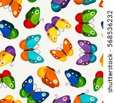 children butterfly seamless... | Shutterstock .eps vector #568536232
