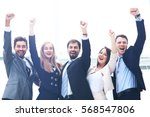 business team celebrating a... | Shutterstock . vector #568547806