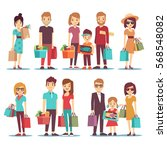 people shopping in mall vector... | Shutterstock .eps vector #568548082