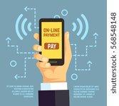 online payment transfer  mobile ... | Shutterstock .eps vector #568548148
