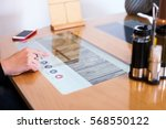 modern multitouch table in... | Shutterstock . vector #568550122