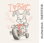 Cute Rabbit Cartoon Ride Bicycle