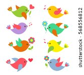colorful springtime birds with... | Shutterstock .eps vector #568556812