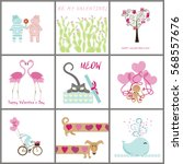 set of valentines day banners... | Shutterstock . vector #568557676