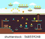 retro platformer video game ... | Shutterstock .eps vector #568559248