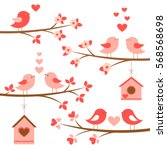 set of cute birds in love on... | Shutterstock .eps vector #568568698