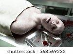 cadaver  dead male body in... | Shutterstock . vector #568569232