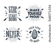 set of hand drawn labels with... | Shutterstock .eps vector #568571356