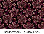 hibiscus in purple and beige... | Shutterstock . vector #568571728