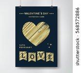 valentines day poster design... | Shutterstock .eps vector #568572886