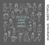 funny people doodles free hand... | Shutterstock .eps vector #568574926