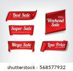 a set of red paper sale banners.... | Shutterstock .eps vector #568577932