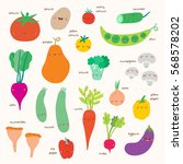 super cute set of vegetables... | Shutterstock .eps vector #568578202