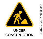 under construction sign with... | Shutterstock .eps vector #568585858