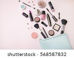 a blue make up bag with... | Shutterstock . vector #568587832