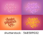 happy valentines day hand... | Shutterstock .eps vector #568589032
