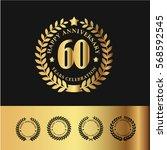 golden laurel wreath... | Shutterstock .eps vector #568592545