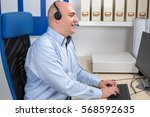 call center staff collects a... | Shutterstock . vector #568592635