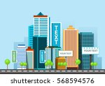 vector flat business city...   Shutterstock .eps vector #568594576
