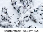 bikes covered in snow | Shutterstock . vector #568594765