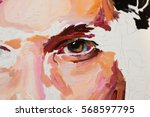 painting male portrait oil on... | Shutterstock . vector #568597795
