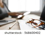 workspace set up with computer  ... | Shutterstock . vector #568600402