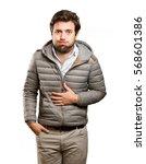 worried man doing a dislike... | Shutterstock . vector #568601386