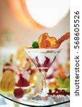 a sweet ice cream dessert with...   Shutterstock . vector #568605526