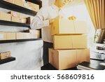 businessman use smartphone... | Shutterstock . vector #568609816