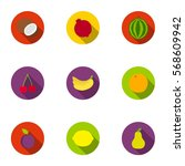 fruits set icons in flat style. ... | Shutterstock .eps vector #568609942