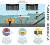 airport passenger terminal and... | Shutterstock .eps vector #568610542