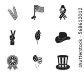 patriot day set icons in black... | Shutterstock .eps vector #568612012